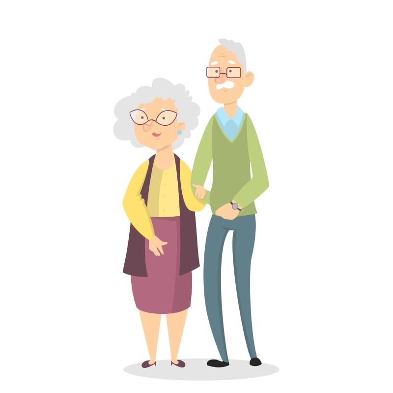 Isolated old couple standing on white background
