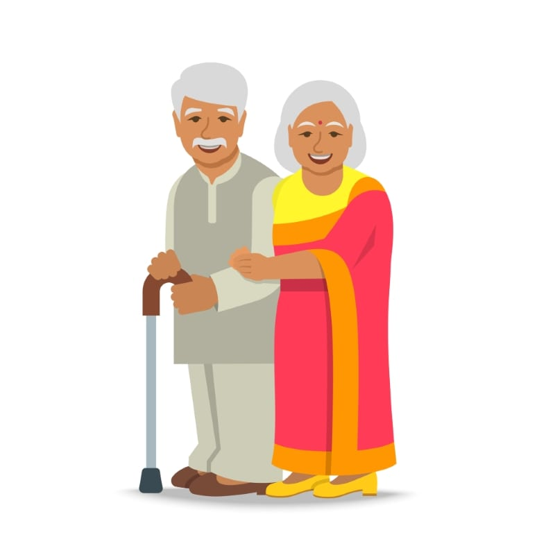 Senior Indian man and woman couple stands together