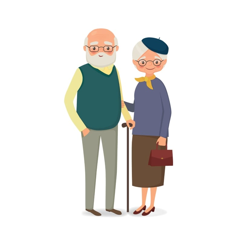 Elderly couple with glasses holding hands