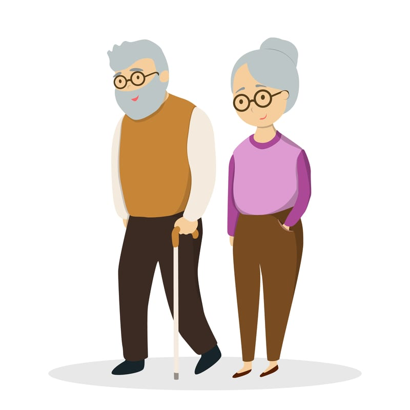 Isolated cute elderly couple on white background.