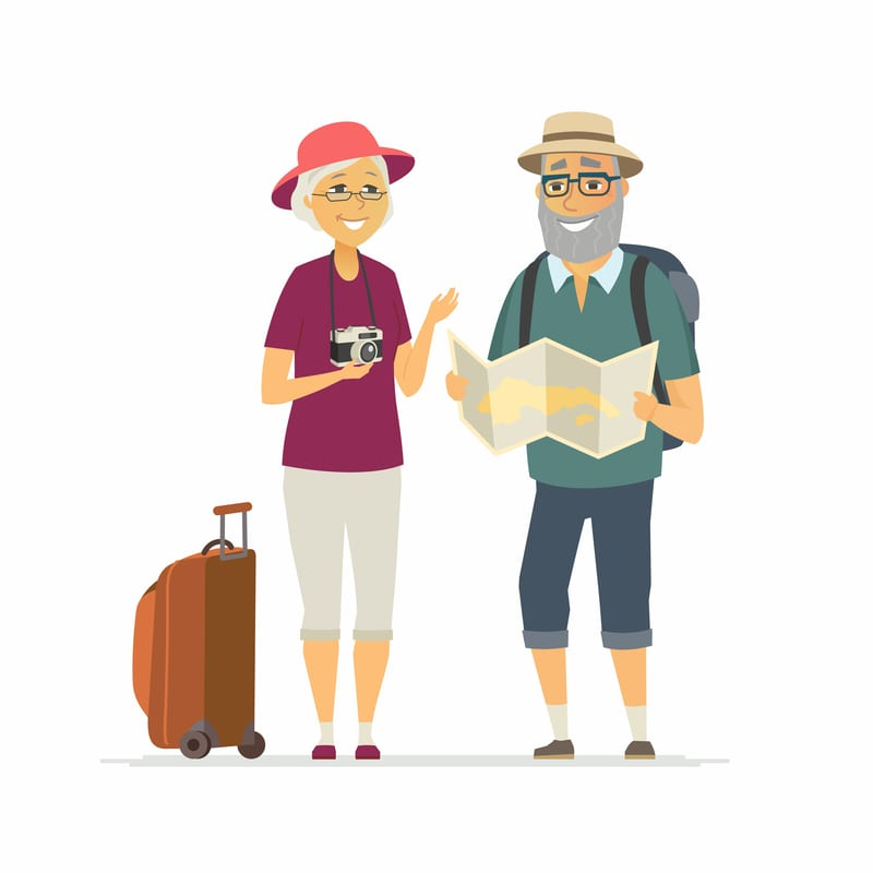 Happy smiling elderly couple traveling, standing with a map