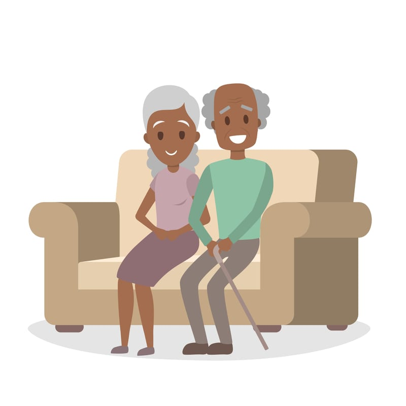 Old african american couple on the couch