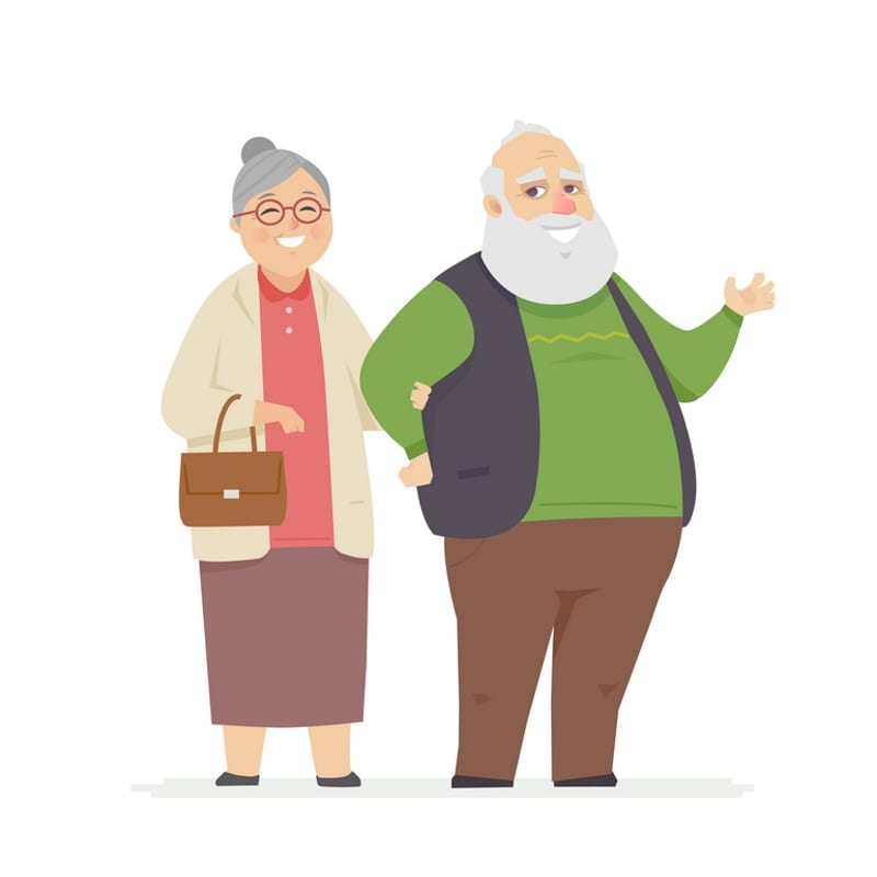 Happy senior couple - cartoon people characters isolated illustration