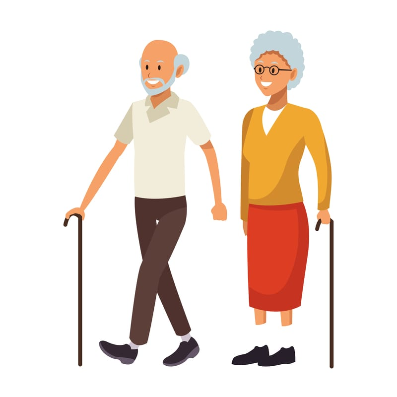 old couple avatar with cane beard bald and glasses vector illustration graphic design