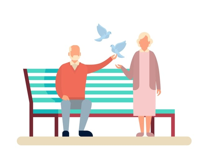 Senior Couple Grandmother And Grandfather Bench In Park Outdoors