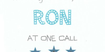 Thank you so much Ron at One Call for all your help & excellent advice.